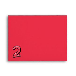 Silly Number 2 red Note Card Envelope envelope