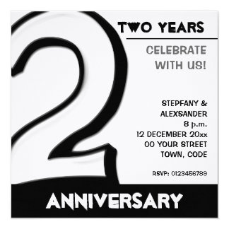 Silly Number 2 white Anniversary Invite