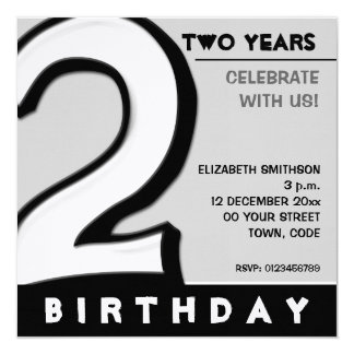 Silly Number 2 white Birthday Party Invitation