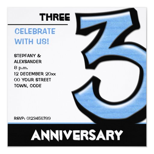 Silly Number 3 blue Anniversary Invitation