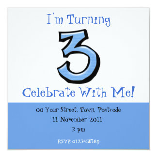 Silly Number 3 blue Birthday Invitation