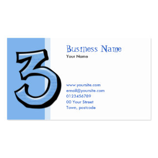 Silly Number 3 blue Business Card