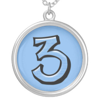Silly Number 3 blue Necklace
