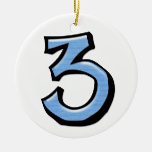 Silly Number 3 blue Ornament