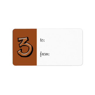 Silly Number 3 chocolate Gift Tag Label