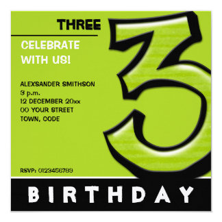 """Silly Number 3 green Birthday Party Invitation 5.25"""" Square Invitation Card"""