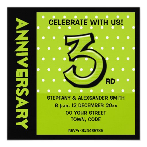 Silly Number 3 green dots Anniversary Invite