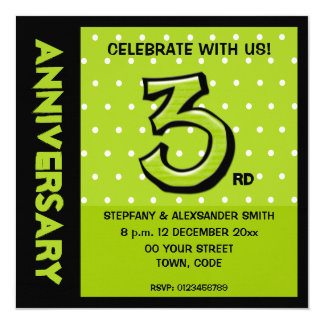 """Silly Number 3 green dots Anniversary Invite 5.25"""" Square Invitation Card"""