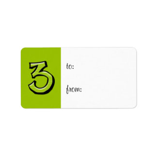 Silly Number 3 green Gift Tag Label