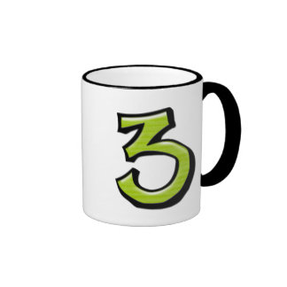 Silly Number 3 green white Mug