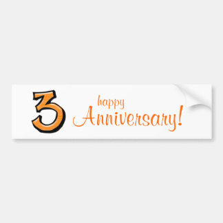Silly Number 3 orange Anniversary Bumper Sticker