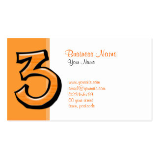Silly Number 3 orange Business Card