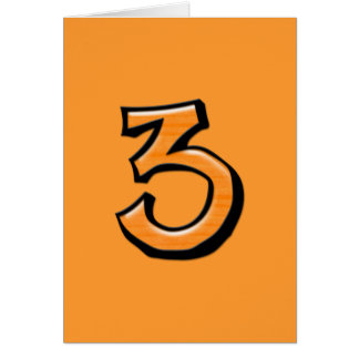Silly Number 3 orange Card