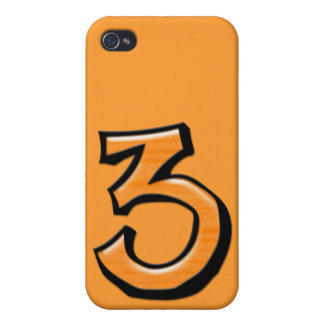 Silly Number 3 orange iPhone 4 Case