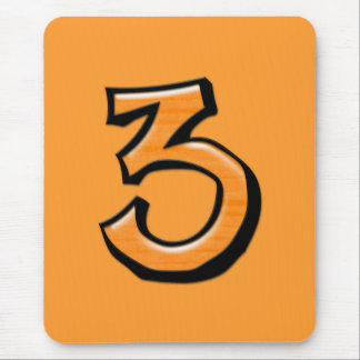 Silly Number 3 orange Mousepad