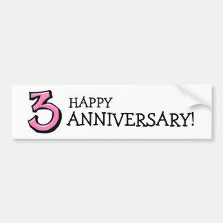 Silly Number 3 pink Anniversary Bumper Sticker