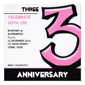 Silly Number 3 pink Anniversary Invitation