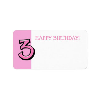 Silly Number 3 pink Birthday Gift Tag