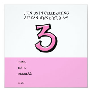 Silly Number 3 pink Birthday Invitation