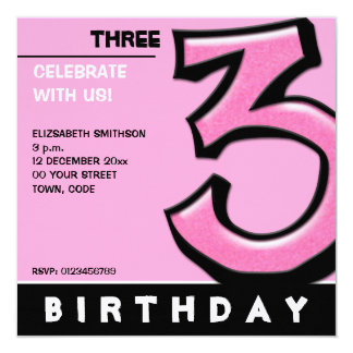 Silly Number 3 pink Birthday Party Invitation