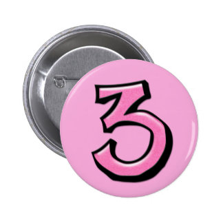 Silly Number 3 pink Button