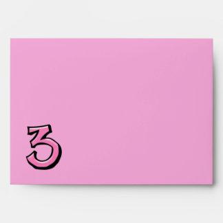 Silly Number 3 pink Card Envelope