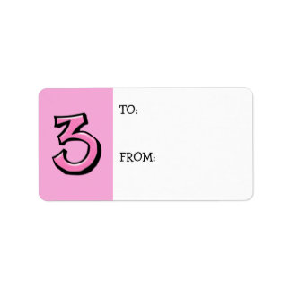 Silly Number 3 pink Gift Tag Label