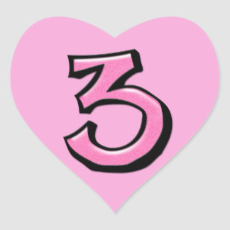 Silly Number 3 pink Heart Sticker