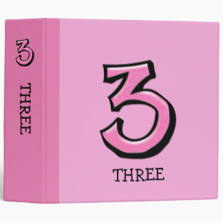 Silly Number 3 pink Home Office Binder