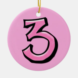 Silly Number 3 pink Ornament