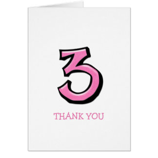 Silly Number 3 pink Thank You Note Card