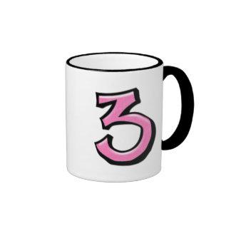 Silly Number 3 pink white Mug