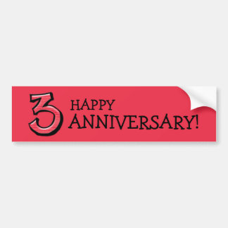 Silly Number 3 red Anniversary Bumper Sticker
