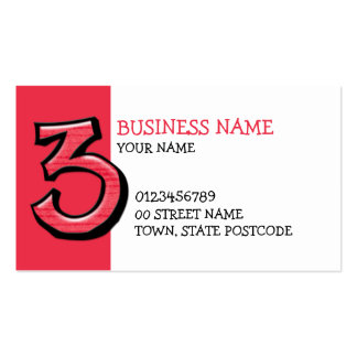 Silly Number 3 red Business Card