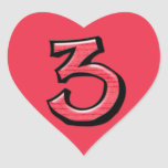 Silly Number 3 red Heart Sticker