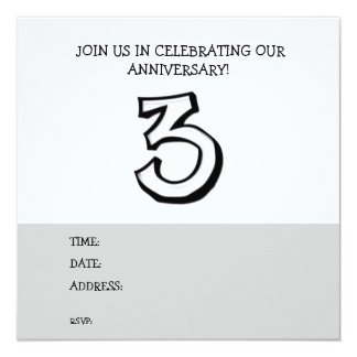 Silly Number 3 white Anniversary Invitation