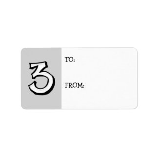 Silly Number 3 white Gift Tag Label