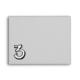 Silly Number 3 white Note Card Envelope