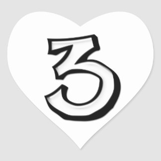 Silly Number 3 white white Heart Sticker