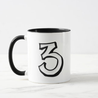 Silly Number 3 white white Mug