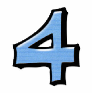 Silly Number 4 blue Cake Topper Cutout