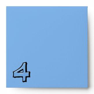 Silly Number 4 blue Invitation Envelope envelope