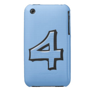 Silly Number 4 blue iPhone 3G/3GS Case-Mate Case-Mate iPhone 3 Case