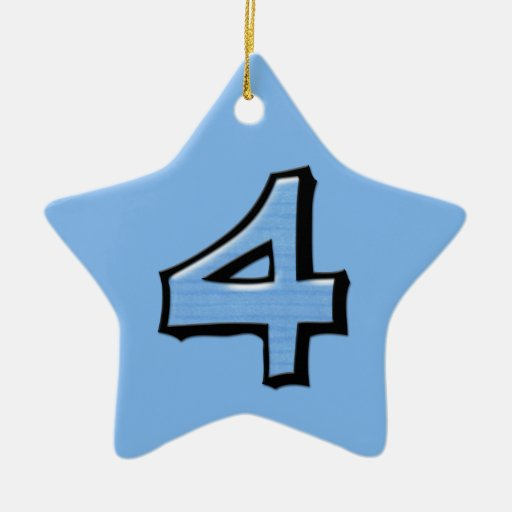 Silly Number 4 blue Star Ornament