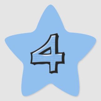 Silly Number 4 blue Star Sticker
