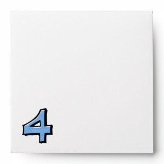 Silly Number 4 blue white Invitation Envelope envelope