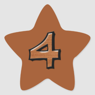Silly Number 4 chocolate Star Sticker