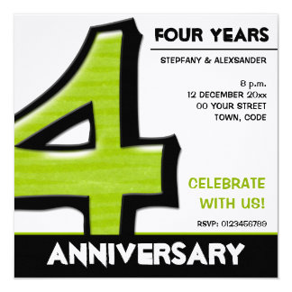 "Silly Number 4 green Anniversary Invitation 5.25"" Square Invitation Card"