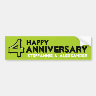 Silly Number 4 green Anniversary Sticker