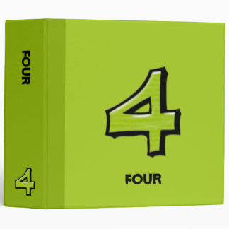 Silly Number 4 green Binder